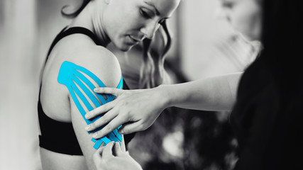 Shoulder Treatment With Blue Kinesiology Tape