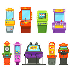 Vector colored illustrations of games machines. Driving simulator and different arcade games in amusement park
