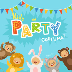Kids party invitation with illustrations of happy childrens in carnival costumes of animals