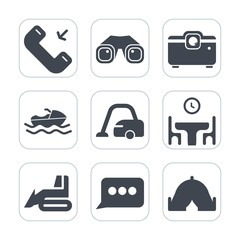 Premium fill icons set on white background . Such as equipment, housework, outgoing, camp, call, food, construction, marine, media, boat, outdoor, speech, projector, web, sign, mobile, binocular, home