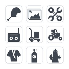 Premium fill icons set on white background . Such as photo, white, spray, music, bathrobe, poultry, paper, renovation, warehouse, sound, field, picture, reparation, paint, agricultural, animal, meat