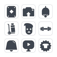 Premium fill icons set on white background . Such as sign, card, video, gambling, weight, call, casino, transportation, alert, cargo, game, upload, camera, ring, fashion, truck, shipping, play, retro