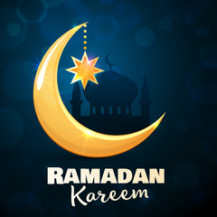 Ramadan Kareem greeting card. Islamic golden crescent moon and star. Illustration for muslim holy month Ramadan. Vector