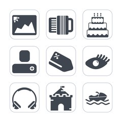 Premium fill icons set on white background . Such as tag, sea, ocean, tower, sale, person, frame, blank, beauty, face, technology, discount, paper, building, social, vessel, beautiful, modern, musical