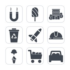 Premium fill icons set on white background . Such as sign, car, safety, stick, popsicle, sweet, real, cart, rocket, magnetic, home, magnet, helmet, science, estate, hat, machine, garbage, house, bin