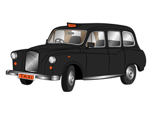 classic london taxi car vector drawing illustration