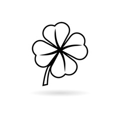 Simple Clover with four leaves icon
