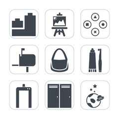 Premium fill icons set on white background . Such as child, toy, astronaut, computer, paint, space, painter, duck, scan, artist, toothpaste, science, machine, brush, post, fun, paintbrush, door, box
