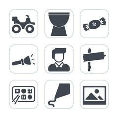 Premium fill icons set on white background . Such as frame, percussion, boy, road, sound, flashlight, background, fun, picture, restaurant, dirt, kite, extreme, transportation, man, joy, arrow, riding