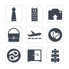 Premium fill icons set on white background . Such as interior, kamon, bag, strategy, equipment, piece, cabinet, caffeine, japan, travel, coffee, upload, transport, airplane, plane, photo, fashion, mon