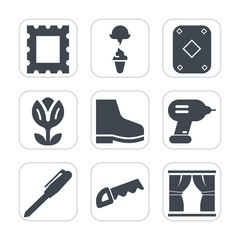 Premium fill icons set on white background . Such as black, drill, art, footwear, decoration, milk, work, office, play, curtain, cold, gambling, card, spring, ice, summer, pink, cream, vintage, photo