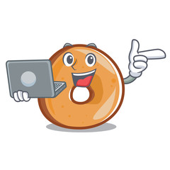 With laptop bagels character cartoon style