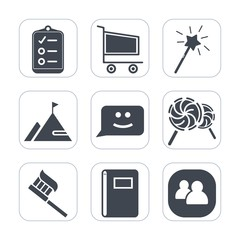 Premium fill icons set on white background . Such as magician, book, clean, list, shop, brush, element, mark, star, face, candy, fantasy, smile, page, lollipop, people, care, cart, social, retail, buy