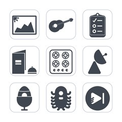Premium fill icons set on white background . Such as space, book, video, sign, play, holiday, radio, paper, page, string, ufo, list, music, photography, spring, musical, checklist, mark, photo, check