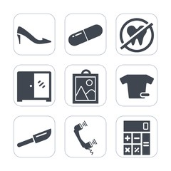 Premium fill icons set on white background . Such as dinner, clothing, care, phone, dentist, drug, elegant, mouth, shirt, pharmacy, calculator, shoe, restaurant, call, finance, hygiene, tooth, health