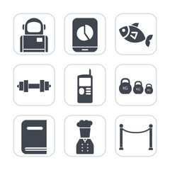 Premium fill icons set on white background . Such as sea, phone, fish, space, seafood, vintage, dumbbell, cell, chart, health, mobile, fresh, cosmos, sport, fitness, restaurant, earth, telephone, food