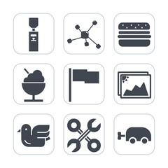 Premium fill icons set on white background . Such as industrial, drink, food, collection, nature, atom, sky, sign, object, bird, wildlife, dessert, ice, cream, liquid, water, baby, service, molecule