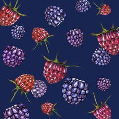 ripe raspberries and blackberries