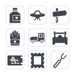 Premium fill icons set on white background . Such as truck, frame, hygiene, snack, alien, business, fork, discount, technology, science, template, fresh, price, ufo, galaxy, french, delivery, care
