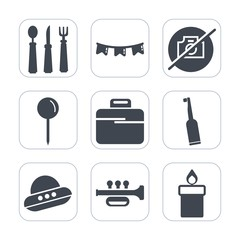 Premium fill icons set on white background . Such as happy, technology, toothbrush, party, flag, wax, fire, meal, business, kitchen, dental, spacecraft, camera, ufo, colorful, spoon, no, drop, music