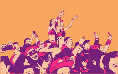 Illustration of large croncert crowd of people cheering at festival party with hands raised