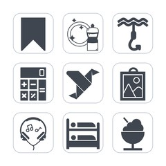 Premium fill icons set on white background . Such as modern, clean, art, concept, food, cleaner, creative, calculator, bookmark, picture, sound, sign, geometric, hostel, financial, bird, finance, star