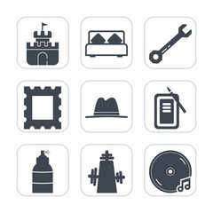 Premium fill icons set on white background . Such as art, bed, picture, blank, kitchen, hammer, wrench, house, toy, background, photo, tool, furniture, work, screwdriver, border, interior, sound, sand