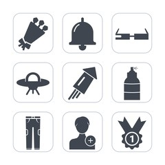 Premium fill icons set on white background . Such as holiday, call, ufo, human, alert, button, pants, award, clothing, beautiful, spaceship, nature, bouquet, alien, flower, smart, celebration, concept