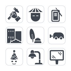 Premium fill icons set on white background . Such as ink, chinese, party, construction, real, male, black, road, white, birthday, inkstone, young, tool, work, celebration, pen, building, builder, home