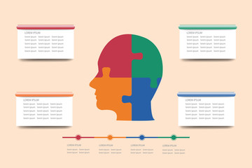 The concept vector of the man's head silhouette in four colors surrounded by rectangular labels and timeline ready for your text.