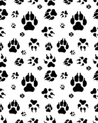Seamless pattern of print of dogs paws on a white background
