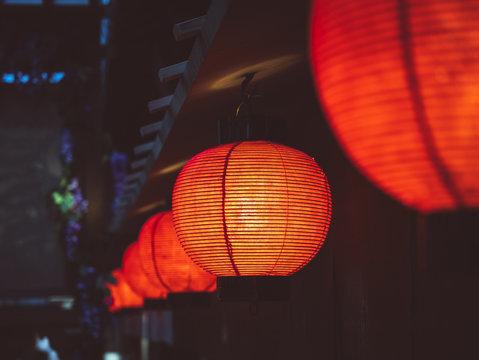 Red Lanterns light Japan nightlife Bar street district