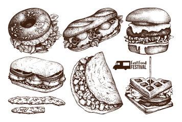 Street food festival menu. Vintage sketch collection. Fast food set. Engraved style design. Vector drink drawing.
