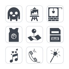 Premium fill icons set on white background . Such as creature, note, well, art, painter, character, sport, pointer, alien, monster, pin, phone, extraterrestrial, basketball, communication, map, stone