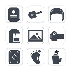 Premium fill icons set on white background . Such as building, guitar, identity, belt, instrument, helmet, sound, music, cup, child, hot, technology, small, camera, electric, baby, frame, newborn, old