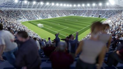 Fotoväggar - Volles Fußball Stadion mit Zuschauern auf Tribüne