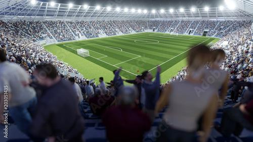 Volles Fussball Stadion Mit Zuschauern Auf Tribune Stock