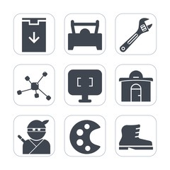 Premium fill icons set on white background . Such as atom, arrow, real, construction, transportation, website, fashion, web, button, repair, automobile, leather, estate, weapon, sign, japan, screen