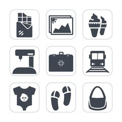 Premium fill icons set on white background . Such as emergency, cream, travel, slipper, bag, equipment, image, kid, clothes, baby, photo, snack, industry, cone, sewing, sew, vanilla, blank, machine