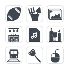 Premium fill icons set on white background . Such as game, object, play, technology, food, drink, note, background, paper, computer, toy, cooking, picture, sand, travel, white, sport, goal, mouse, bar
