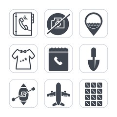 Premium fill icons set on white background . Such as travel, plane, clothes, clothing, map, child, gardening, web, dessert, internet, yacht, sweet, business, airplane, camera, newborn, ship, boy, job