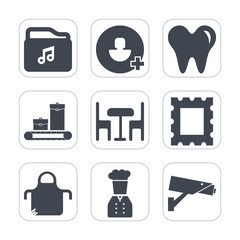 Premium fill icons set on white background . Such as user, mouth, apron, security, surveillance, border, photo, video, care, safety, cook, person, account, frame, web, social, bag, restaurant, travel