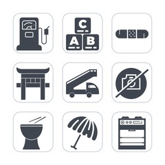 Premium fill icons set on white background . Such as percussion, girl, transportation, travel, toy, medical, no, petroleum, petrol, station, health, picture, kid, pump, medicine, gasoline, oil, rain