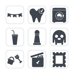 Premium fill icons set on white background . Such as shovel, game, dentist, healthy, wash, holiday, strategy, border, frame, ball, space, hygiene, king, health, white, care, celebration, fiction, cold