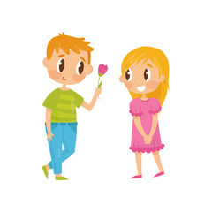 Lovely flat vector illustration of two little kids. Boy giving flower to girl. First love. Valentine s Day