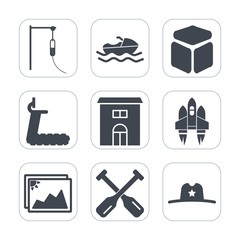 Premium fill icons set on white background . Such as estate, water, industrial, medical, doctor, hospital, sea, fitness, spaceship, craft, medicine, canoe, transport, technology, real, transportation