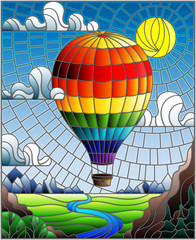Illustration in stained glass style with a rainbow hot air balloon flying over a plain with a river on a background of mountains, cloudy sky and sun