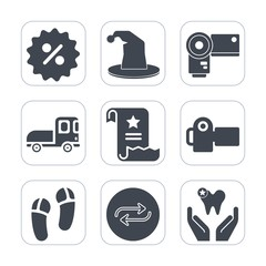 Premium fill icons set on white background . Such as percent, change, equipment, lens, truck, office, business, paper, concept, delivery, tag, substitute, transport, transportation, entertainment, fun