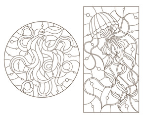 Set of outline illustrations of stained glass Windows with jellyfish and octopus, dark outlines on white background