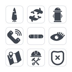 Premium fill icons set on white background . Such as helmet, industry, water, button, food, fishing, department, hydrant, safety, face, protection, fire, builder, medicine, construction, map, fish